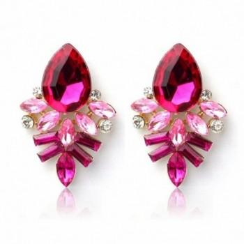 Bolayu Crystal Drop Alloy Ear Studs Women Lady Rhinestone Earrings - Hot Pink - C512L5I0LLZ