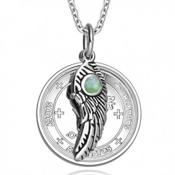 Archangel Michael Sigil Amulet Magic Powers Angel Wing Charm Green Quartz Pendant 18 Inch Necklace - C611UNTK0QT