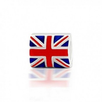 Bling Jewelry Union Jack British Flag Charm 925 Sterling Silver Bead - CX1156G37T1