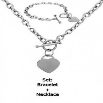 Stainless Elegant Polished Necklace Bracelet - CO11LBIHBXV