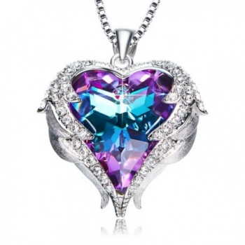ANCREU Love Heart Pendant Necklaces Gifts for Wife Romantic - Purple and Blue - C7187Q5UYC7
