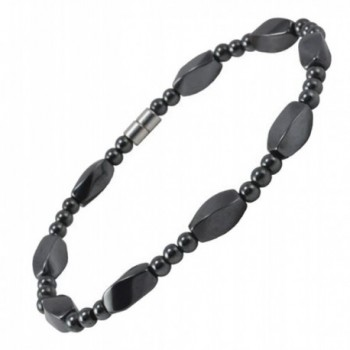 Extra Large 8.5 Inches Magnetic Twisted Beads Simulated Hematite Bracelet- Strong Magnetic Closure - CG11017VVBL