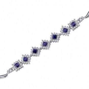 Created Blue Sapphire Bracelet Sterling Silver Halo Style CZ Accent - CW1141DWWAT