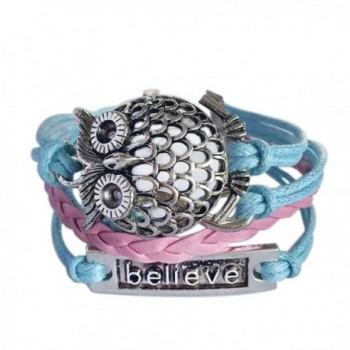 "Wild Wind (TM) Christmas Owl ""Believe"" Lucky Adjustable Infinity Leather Wrap Bracelet - C5129RFSB33"