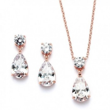 Mariell 14K Rose Gold Plated CZ Teardrop Bridal Necklace and Earring Set for Weddings- Bridesmaids & Prom - CP12MNL8075