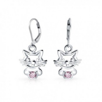Bling Jewelry CZ Simulated Pink Sapphire Kitty Cat Sterling Silver Leverback Dangle Earrings - CA11NCUNUCH