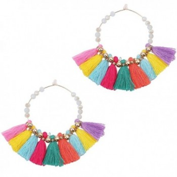 Statement Tassel Earrings Tassels Hoop Earrings Crystal Beaded - multi-color - CE17Z2U5GMZ