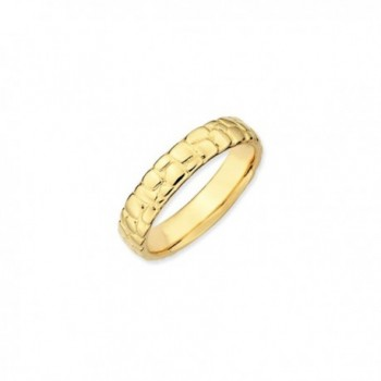 4.5mm Stackable 14K Yellow Gold Plated Silver Cobblestone Band - CN118F400JB