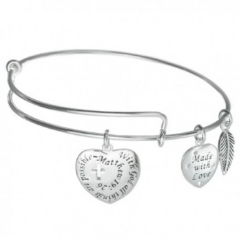 925 Sterling Silver With God All Things Are Possible Charm Adjustable Wire Bangle - C512FTZGQZ5