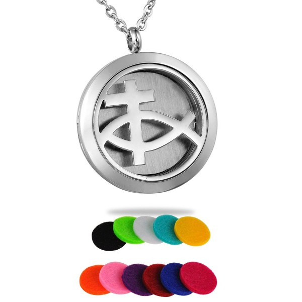 HooAMI Cross Stainless Steel Aromatherapy Essential Oil Diffuser Necklace Locket Pendant - Christian Cross - CO12IHNVYAR