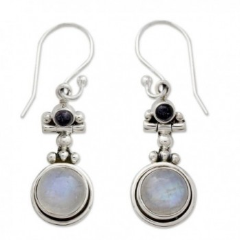 NOVICA .925 Sterling Silver- Rainbow Moonstone- and Iolite Dangle Earrings- 'Misty Moon' - CZ111ZH4XWP