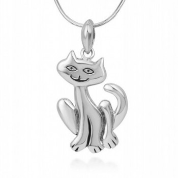 925 Sterling Silver Smiling Cute Cat Happy Kitten Pendant Necklace- 18 inches Chain - Nickel Free - CE12BJVG1Z3