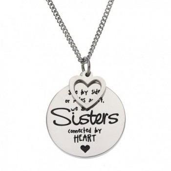 Side By Side or Miles Apart- We Are Sisters Connected By Heart Sister Pendant Necklace - CV12H8RWF2Z