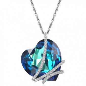 "Caperci ""Heart of the Ocean"" Sterling Silver Heart Pendant Necklace made with Swarovski Crystal Blue - C512F7PBQZ7"