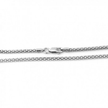 "Solid Sterling Silver Rhodium Plated 2.5mm Popcorn Chain Necklace- 16"" 18"" 20"" 24"" - CC11MQ4VPUT"