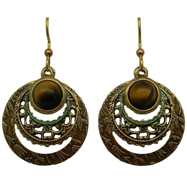 Silver Forest Earrings Tiger Eye On Circles - C611Q3VK60V