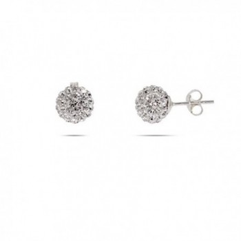 Sparkling Crystal 8 MM Sterling Silver Bead Earrings - C61157AXF97