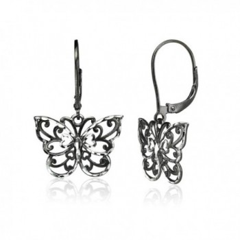 Sterling Silver Diamond-cut Filigree Butterfly Dangle Drop Leverback Earrings- One Pair Set - Black Flashed - CI189IZ5C29