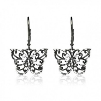 Sterling Two Tone Diamond cut Butterfly Leverback