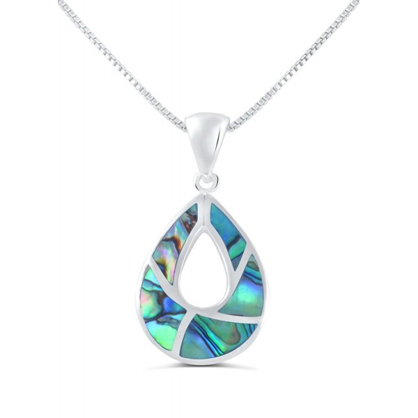 Sterling Silver Tear-drop Iridescence Abalone Shell Necklace Earrings Set - CH12CNUW1JJ