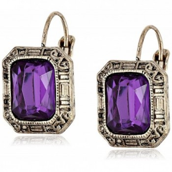 """1928 Jewelry """"Deep Siberian"""" Square Faceted Drop Earrings - Amethyst / Gold-Tone - C6110GT7951"""