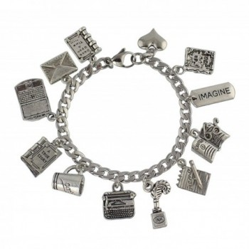 Writer Stainless Steel & Pewter Charm Bracelet - Writing + Author Themed Charms- Sizes XS-XL - CW188I747GG
