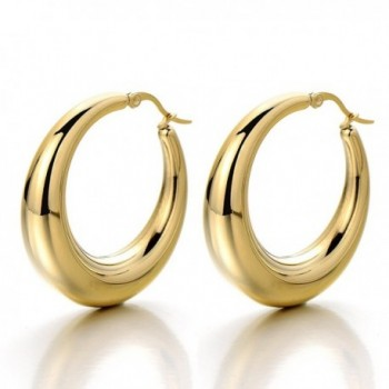 Pair Stainless Steel Hollow Circle Huggie Hinged Hoop Earrings for Women Girls Gold Color - 1 - C112D39BFBT