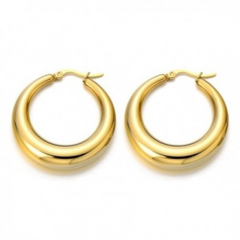 Stainless Hollow Circle Huggie Earrings in Women's Hoop Earrings