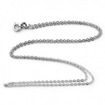 Solid Sterling Silver Rhodium Plated 1.30mm Cable Chain Necklace - CS11K9A63E9