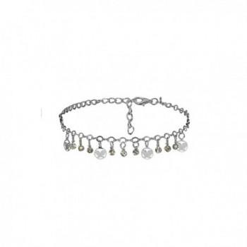 Anklet Feet Butterfly Pendant Charm Bracelet String Bangle Women Jewelry - Silver - CA182KMNG74