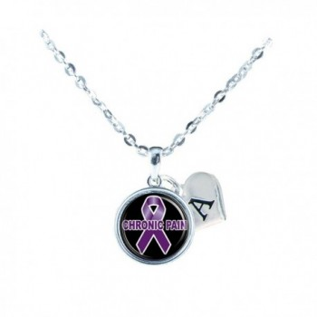 Custom Chronic Pain Awareness Ribbon Necklace Jewelry Choose Initial - CR12MA2P3PD
