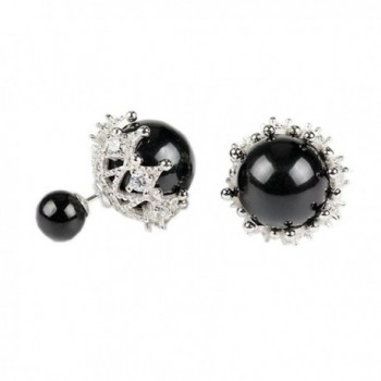 925 Sterling Silver Plated CZ Two-Tone Hollow Lace double-faced Simulated Pearl Women Stud Earrings-Black - CV17WTMMRE9
