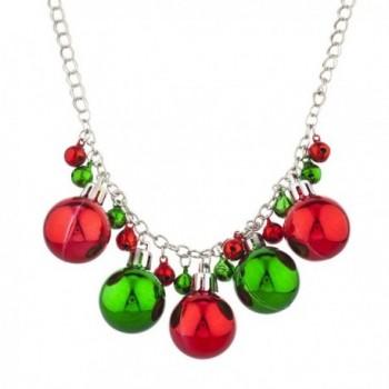 Lux Accessories Silvertone Christmas X-Mas Holiday Jingle Bells Necklace - CR12LQ58ATV