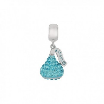 Hershey's Kisses Womens' Sterling Silver Crystal Dangle Bead - Blue - CS11HKCJD3X