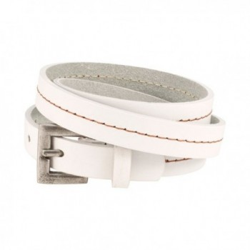 Napoli Leather Belt Buckle Triple Wrap Strap Bracelet 26 inches - White - C112IQ17WCF