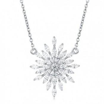 Carleen Sterling Snowflake Necklace Zirconia - Snowflake - C9184X3UC0U