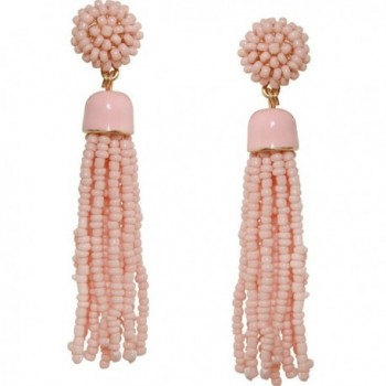 Humble Chic Lightweight Soiree Tassel Earrings - Long Beaded Fringe Drop Statement Dangles - Light Pink - C017YOADG4Q