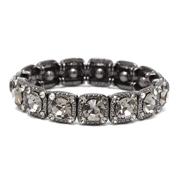 Mariell Vintage Black Diamond Crystal Stretch Bracelet - Adjustable Bangle for Prom- Bridesmaid & Fashion - CQ17Y9ZYTMA