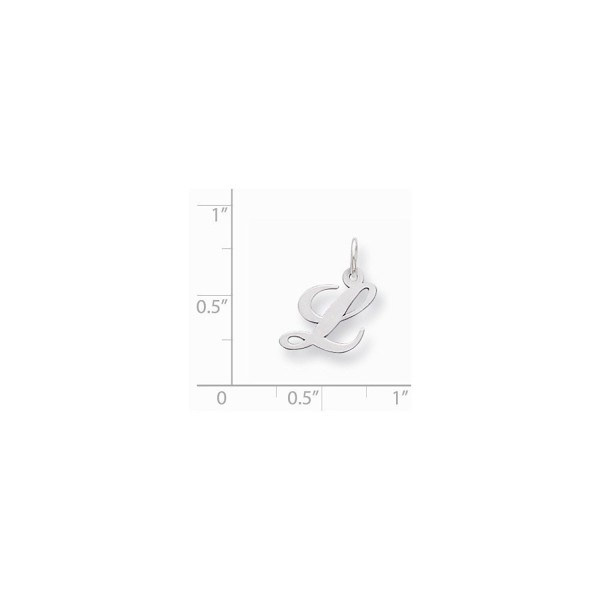 Sterling Silver Small Fancy Script Initial L Charm (0.6IN long x 0.5IN wide) - CR119CBKC3P