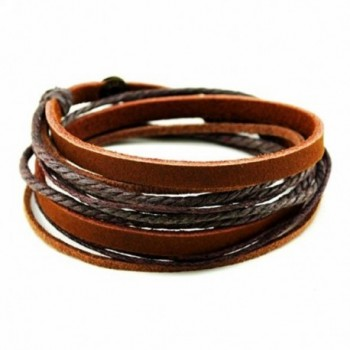 Cherryzz Fashion Brown Soft Leather Wristband Wrip Bracelet - CR1258W2HGV