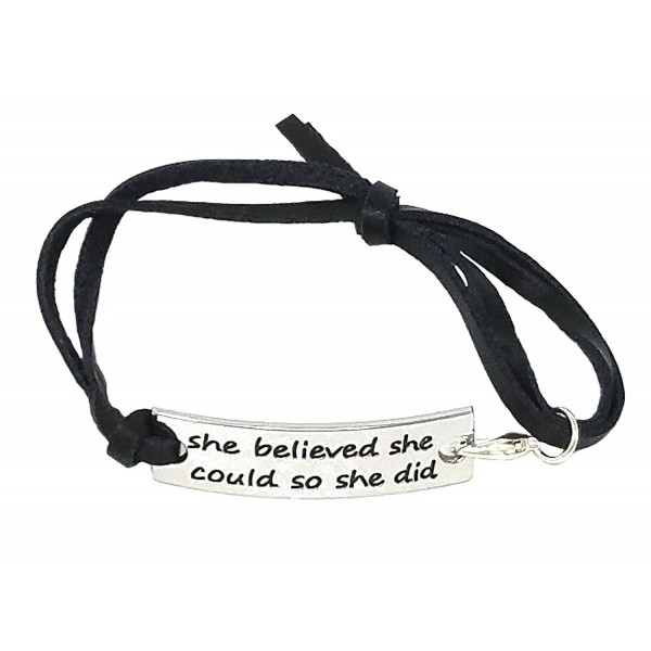 "A-Ha - She Believed She Could So She Did"" Inspirational Leather Bracelet - Black - CG128UIUCHV"