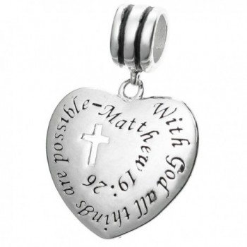 925 Sterling Silver Bible Quote With God All Things Are Possible European Dangle Charm - C8127NN75QF