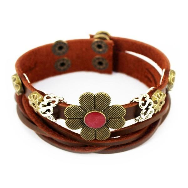 Wild Wind (TM) Christmas Four-Petal Lucky Flower Button Tibet Vintage Charm Adjustable Brown Wrap Bracelet - C2121U7GDI1