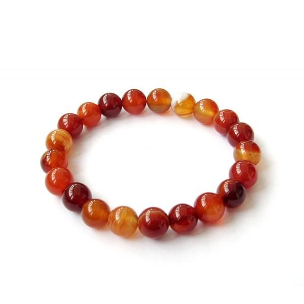 8mm Agate Beads Tibetan Buddhist Prayer Wrist Mala Bracelet for Meditation - CP11C9WWFCZ