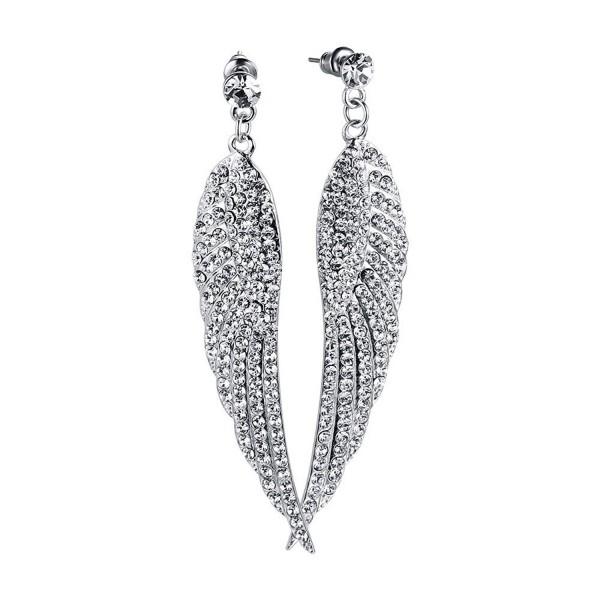 Vnox Jewelry Luxury Platinum Plated Angel Wings Cubic Zirconia Crystal Needle Drop Earrings - CA129M9YUKH