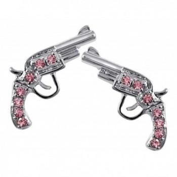 Small Silver Tone PINK Crystal Handgun Gun Pistol Stud Earrings for Teens and Women Fashion Jewelry - C6119S0AQ3P