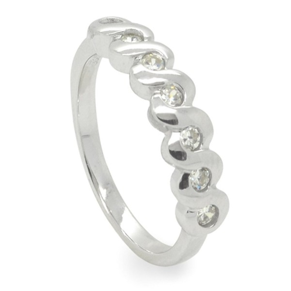 Sterling Silver CZ Lightweight Half-Around Ring Band - CT11D92LS2H