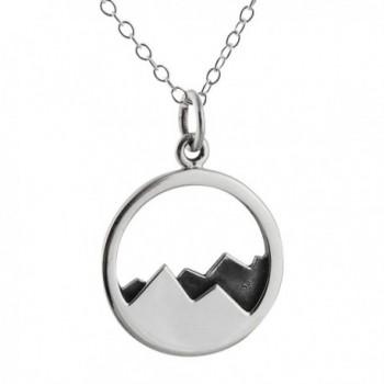 "Sterling Silver Mountain Range Peaks Landscape Pendant Necklace- 18"" - CH12CYJPQGJ"