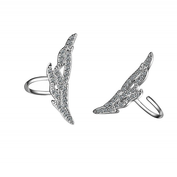 megko Women's Silver Ear Cuffs Wrap Clip Wings Shape Earrings for Non-Pierced Ears - C1186CIROTC