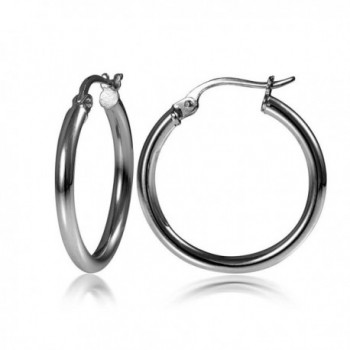 Black Flashed Sterling Silver 2mm High Polished Round Hoop Earrings- All Sizes - 35mm - CR1827GI8XQ